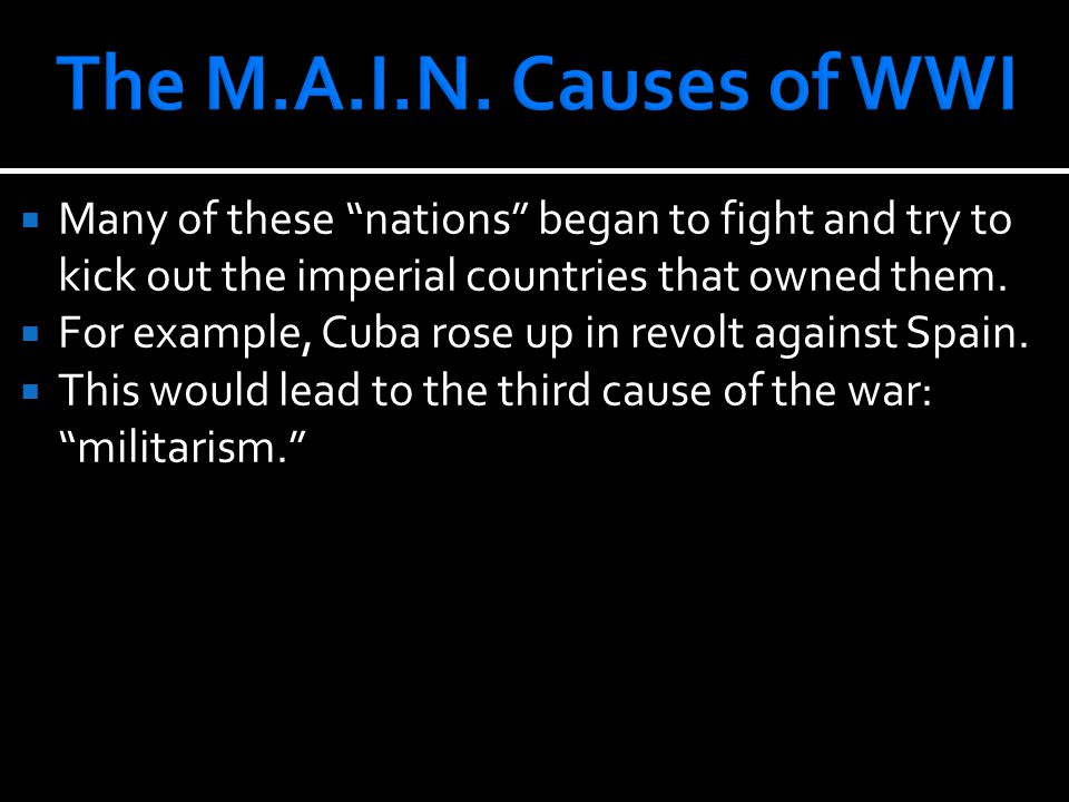  Many of these nations began to fight and try to kick out the imperial countries that owned them.