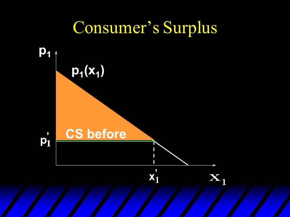 Consumer's Surplus p1p1 CS before p 1 (x 1 )