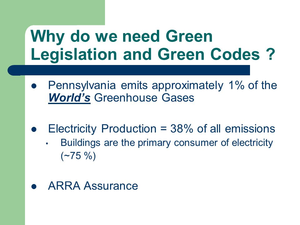 Why do we need Green Legislation and Green Codes ? Pennsylvania emits approximately 1% of the World's Greenhouse Gases Electricity Production = 38% of