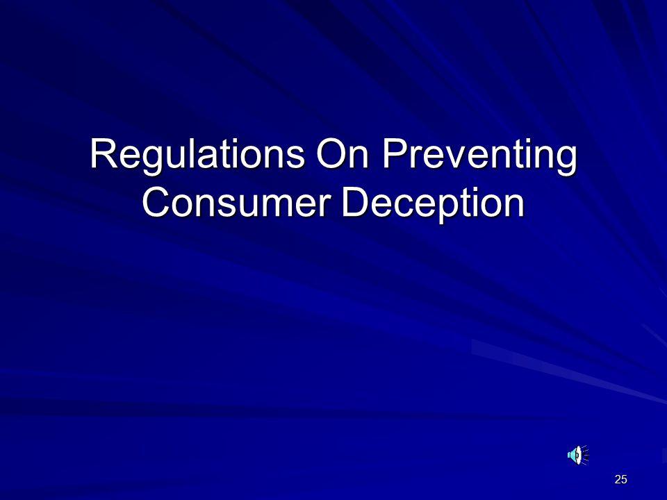 25 Regulations On Preventing Consumer Deception