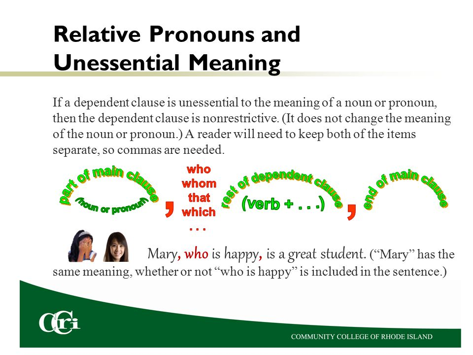 Relative Pronouns and Unessential Meaning If a dependent clause is unessential to the meaning of a noun or pronoun, then the dependent clause is nonrestrictive.