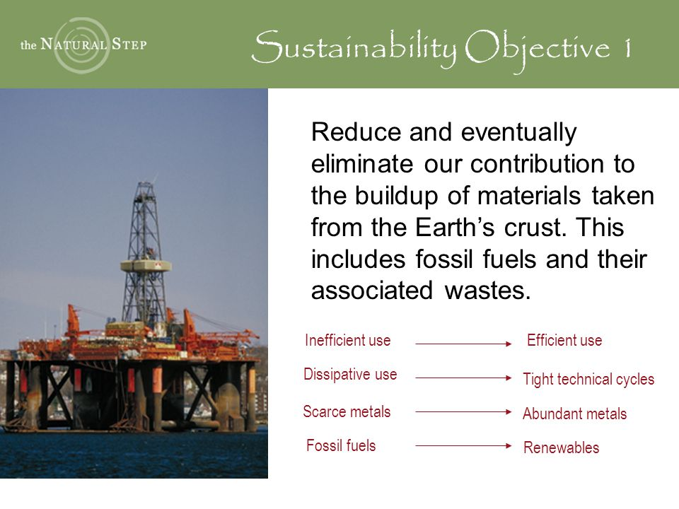 Sustainability Objective 1 Reduce and eventually eliminate our contribution to the buildup of materials taken from the Earth's crust.