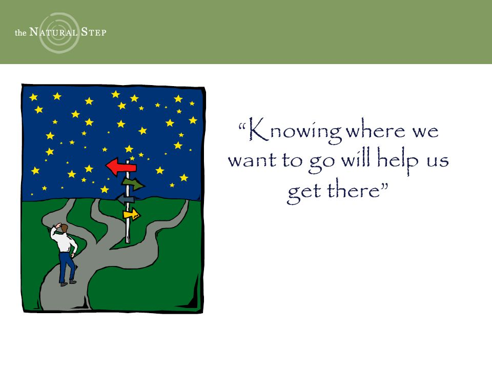 Knowing where we want to go will help us get there