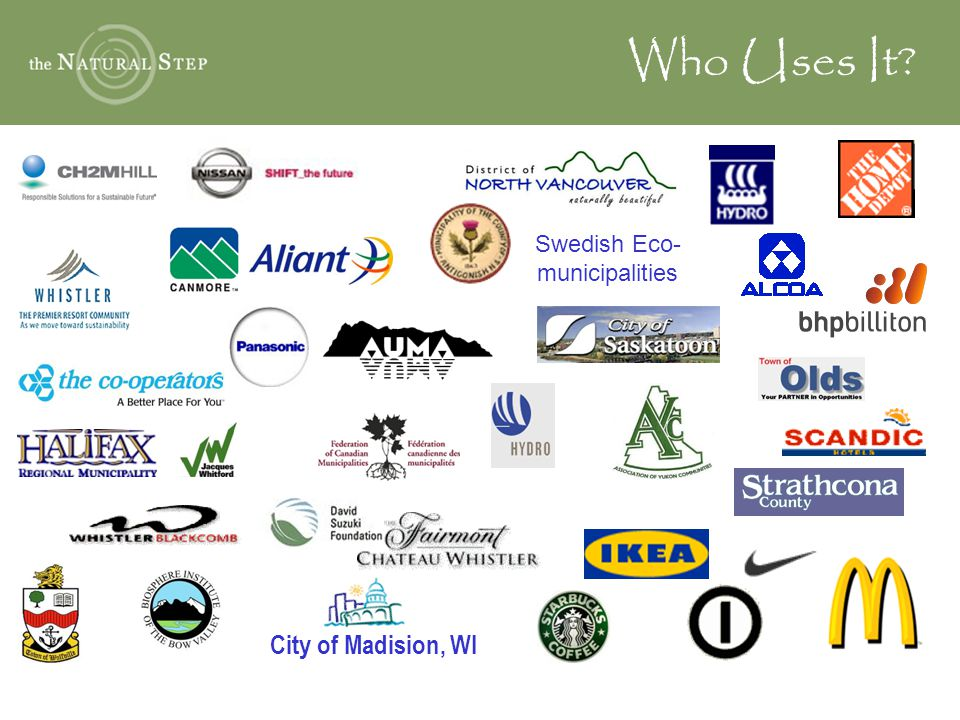 Who Uses It Swedish Eco- municipalities City of Madision, WI