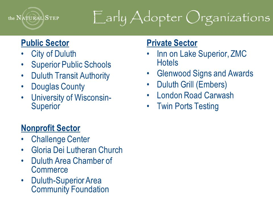 Early Adopter Organizations Public Sector City of Duluth Superior Public Schools Duluth Transit Authority Douglas County University of Wisconsin- Superior Nonprofit Sector Challenge Center Gloria Dei Lutheran Church Duluth Area Chamber of Commerce Duluth-Superior Area Community Foundation Private Sector Inn on Lake Superior, ZMC Hotels Glenwood Signs and Awards Duluth Grill (Embers) London Road Carwash Twin Ports Testing