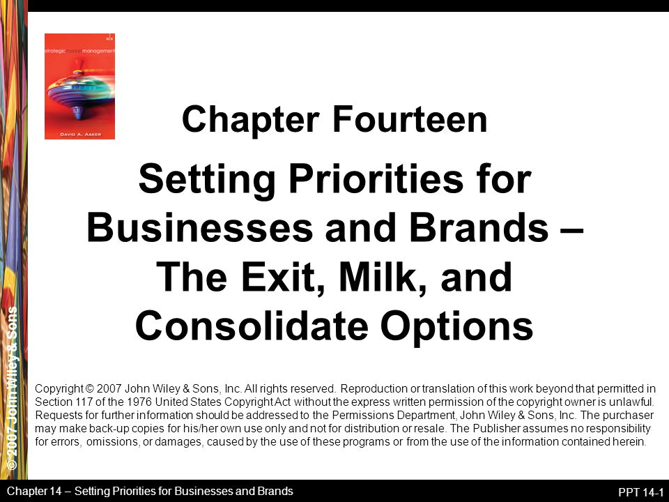 © 2007 John Wiley & Sons Chapter 14 – Setting Priorities for Businesses and Brands PPT 14-1 Setting Priorities for Businesses and Brands – The Exit, Milk, and Consolidate Options Chapter Fourteen Copyright © 2007 John Wiley & Sons, Inc.
