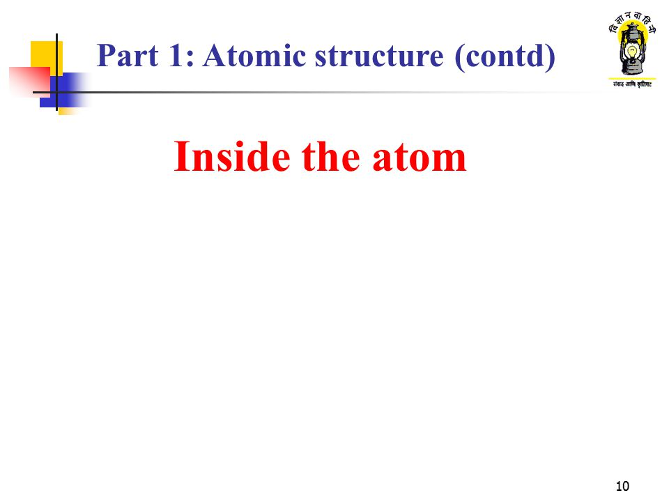 10 Inside the atom Part 1: Atomic structure (contd)