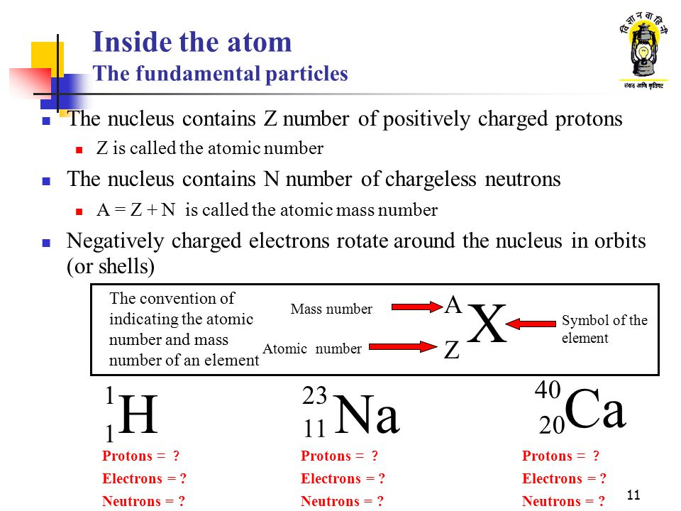 11 Inside the atom The fundamental particles The nucleus contains Z number of positively charged protons Z is called the atomic number The nucleus con