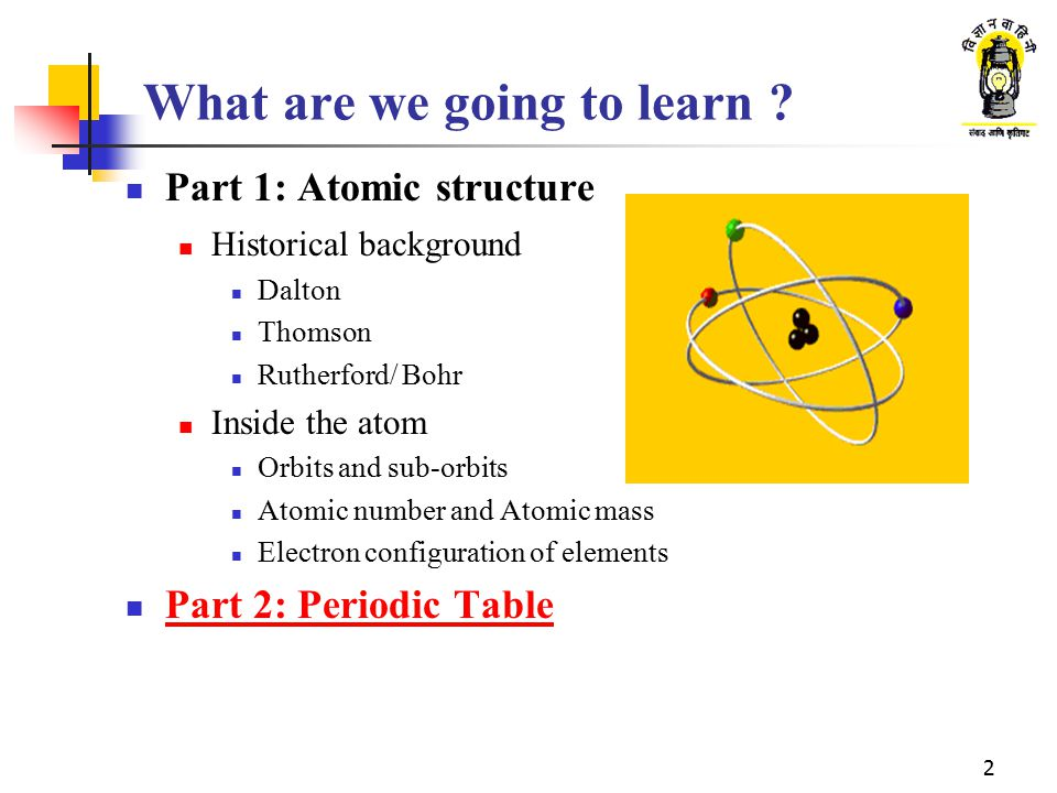 2 What are we going to learn ? Part 1: Atomic structure Historical background Dalton Thomson Rutherford/ Bohr Inside the atom Orbits and sub-orbits At
