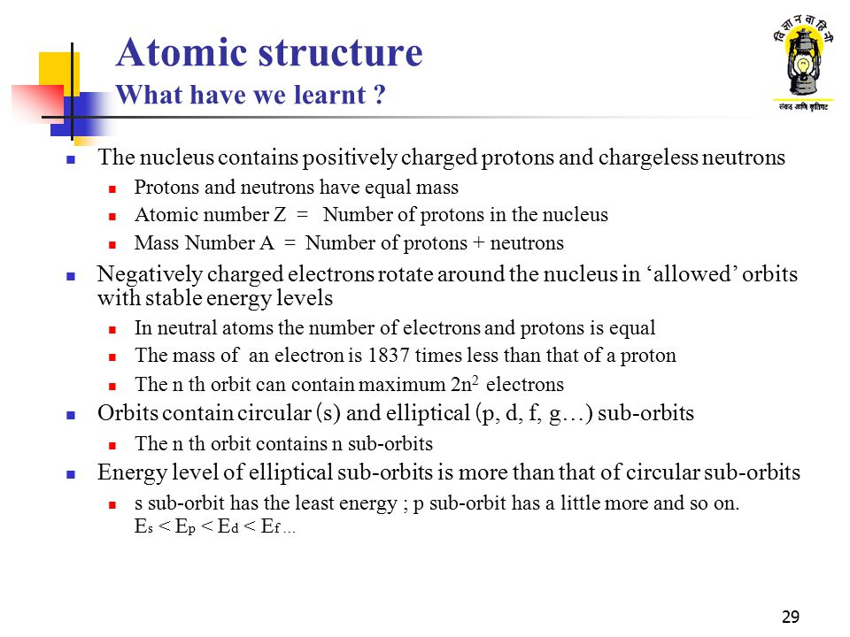 29 Atomic structure What have we learnt ? The nucleus contains positively charged protons and chargeless neutrons Protons and neutrons have equal mass