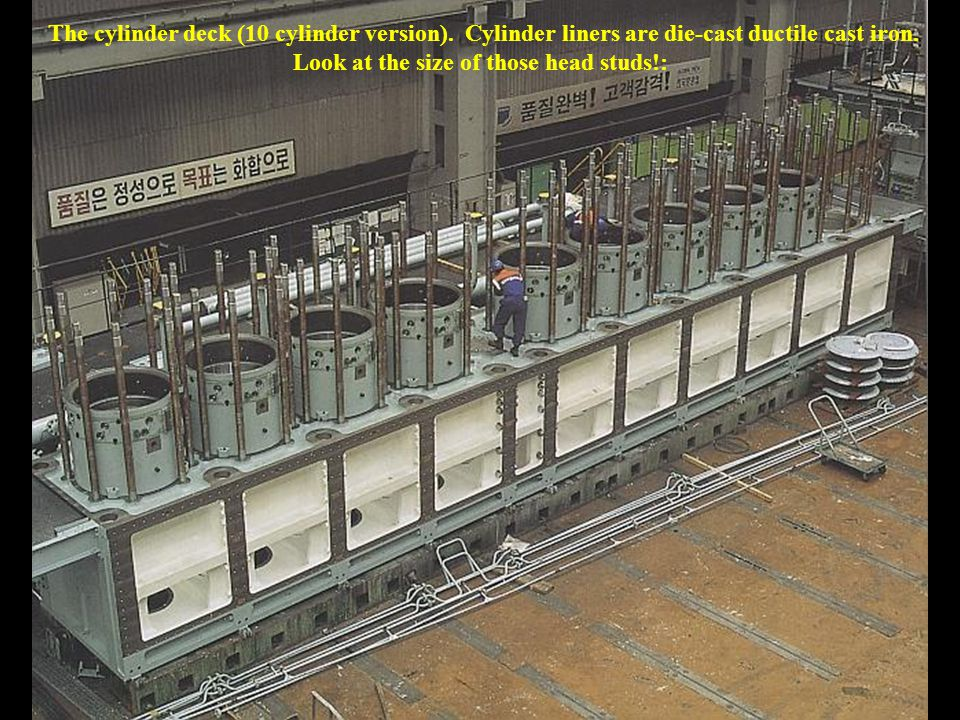 The cylinder deck (10 cylinder version). Cylinder liners are die-cast ductile cast iron.