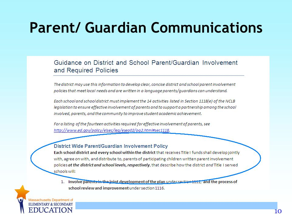 10 Parent/ Guardian Communications