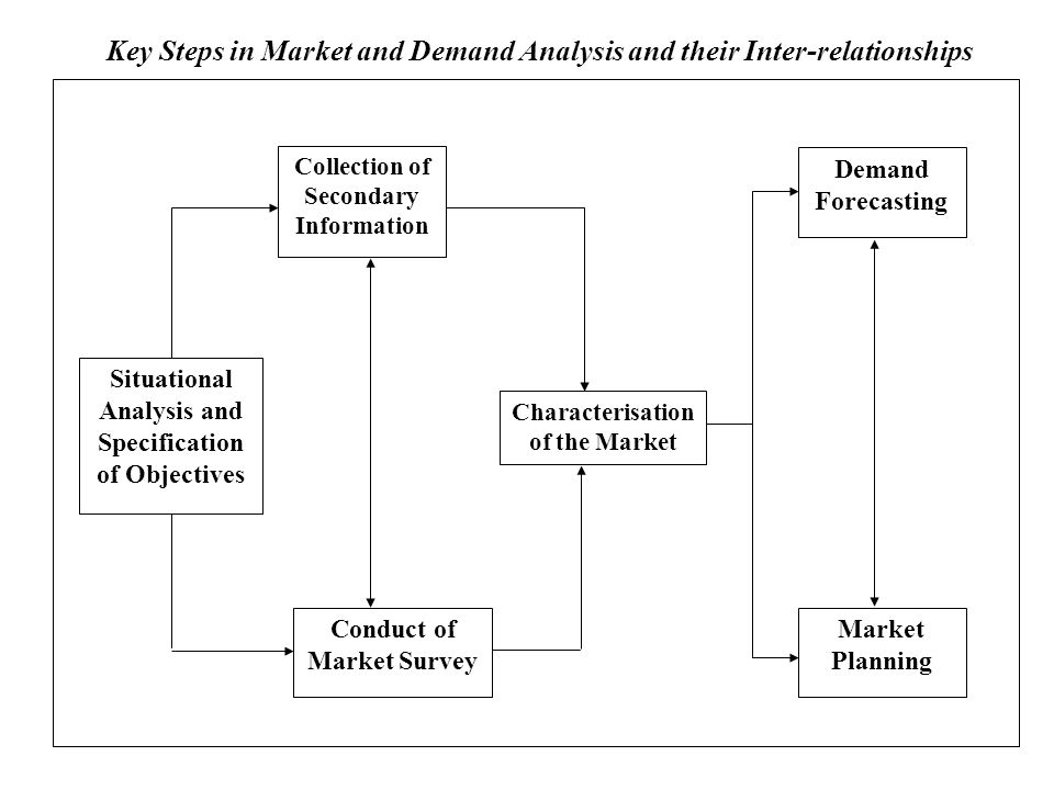 Collection of Secondary Information Situational Analysis and Specification of Objectives Conduct of Market Survey Characterisation of the Market Demand Forecasting Market Planning Key Steps in Market and Demand Analysis and their Inter-relationships