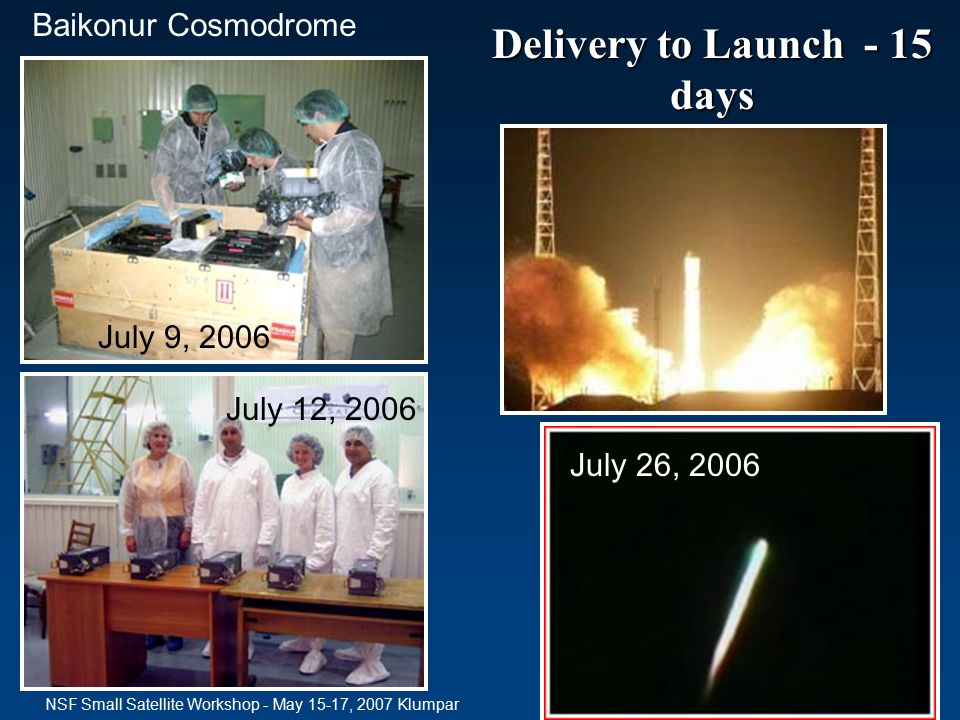 Delivery to Launch - 15 days July 9, 2006 Baikonur Cosmodrome July 12, 2006 July 26, 2006