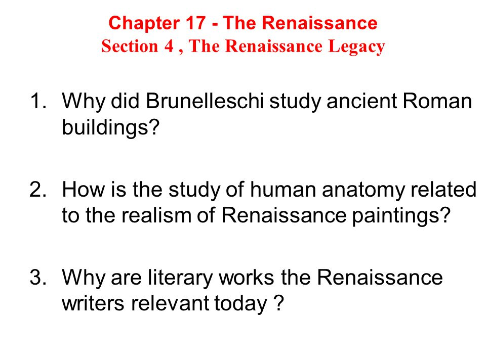 Who were the important artist of the Renaissance and what is their legacy.