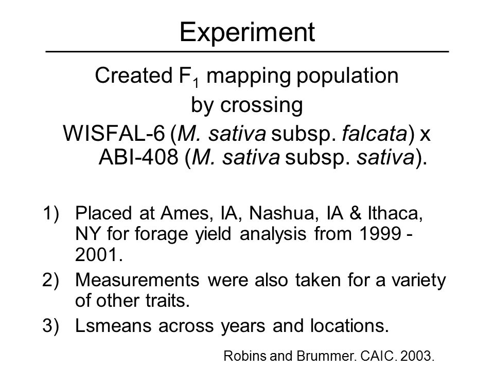 Experiment Created F 1 mapping population by crossing WISFAL-6 (M.