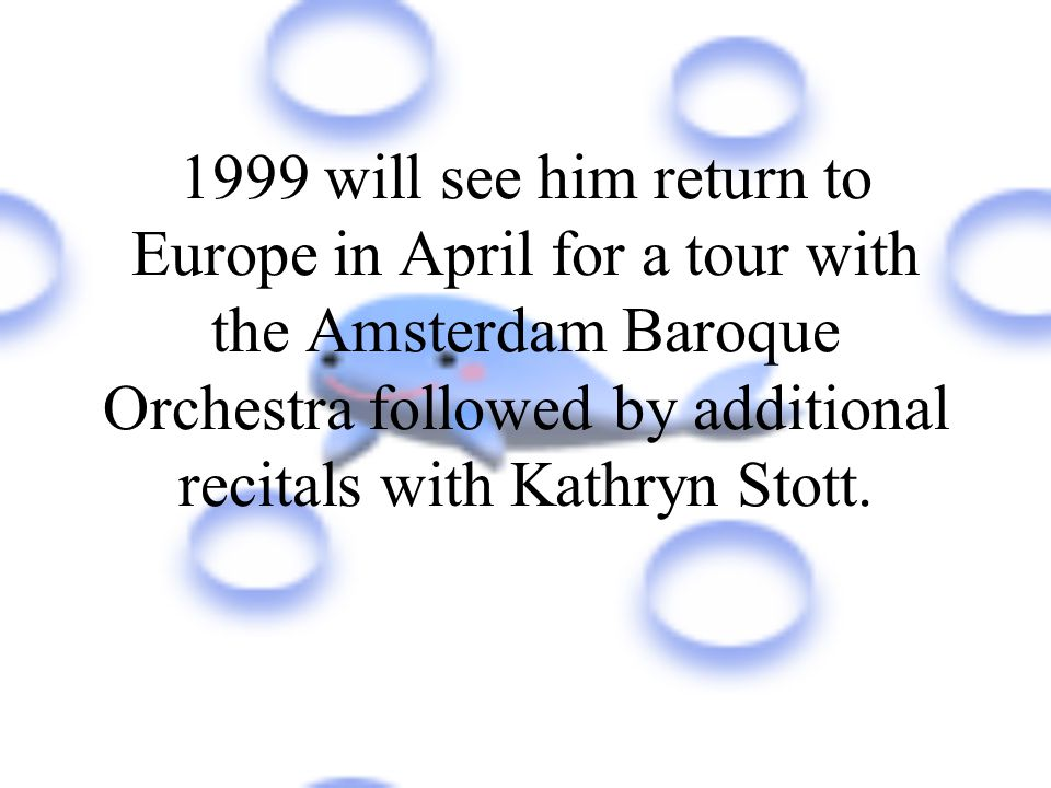 In early 1998 Yo-Yo Ma performed solo Bach in Cologne,Leipzig,Paris with Chen and later with Janowski,at the Salzburg Festival with Ashkenzan and at two BBC Proms in August.He will end 1998 with concerts with the Leipezig Gewandhaus Orchestra and Blomstedt and will then be joined by Kathryn Stott for recitals in Lisbon,Madrid and Andorra.