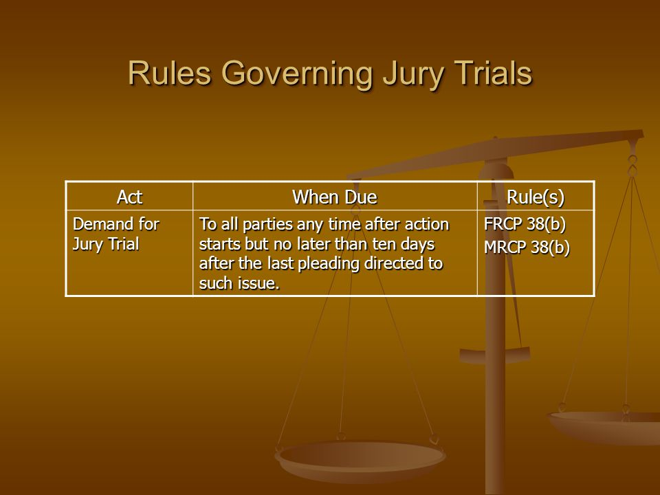 Jury Selection  Juries are chosen through random processes and deliberate choice.