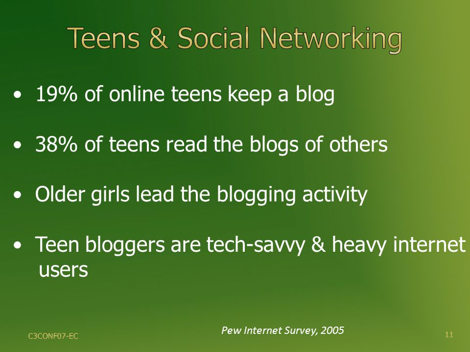 Pew Internet Survey, 2005 19% of online teens keep a blog 38% of teens read the blogs of others Older girls lead the blogging activity Teen bloggers are tech-savvy & heavy internet users 11 C3CONF07-EC