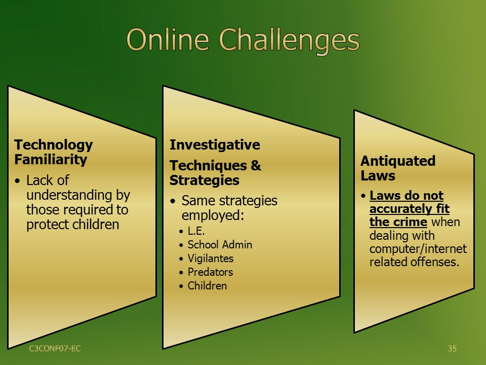 Technology Familiarity Lack of understanding by those required to protect children Investigative Techniques & Strategies Same strategies employed: L.E.