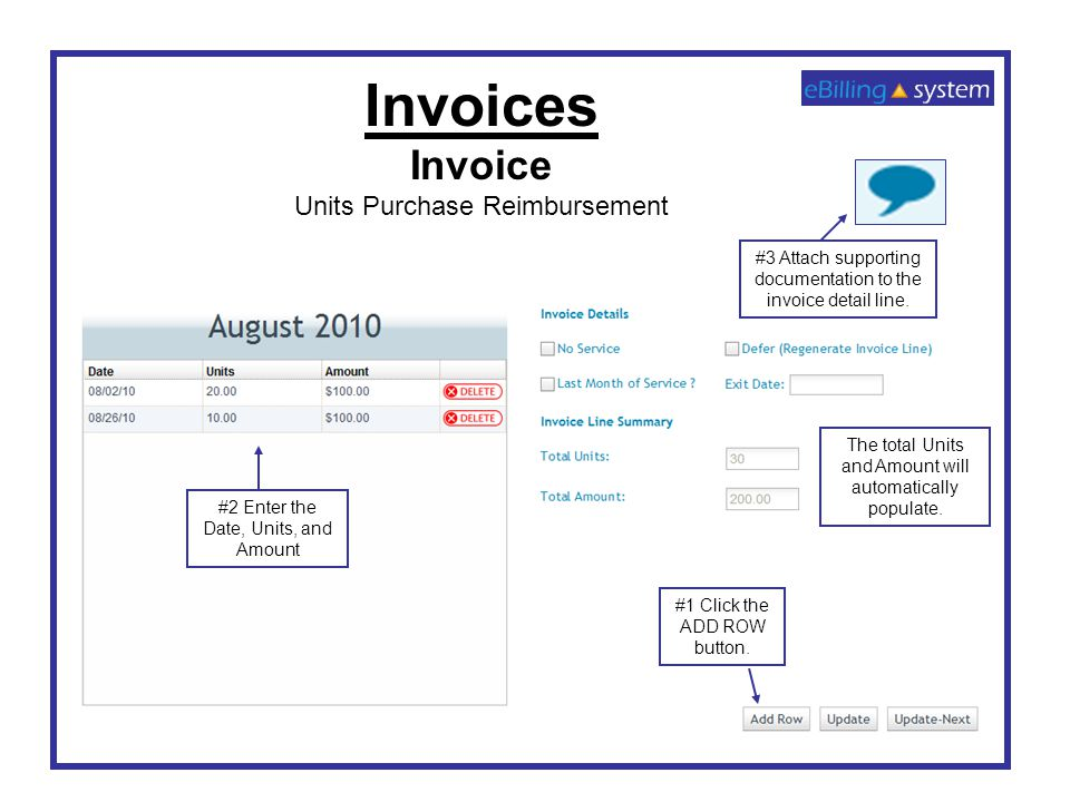 Invoices Invoice Units Purchase Reimbursement #1 Click the ADD ROW button. #2 Enter the Date, Units, and Amount The total Units and Amount will automa