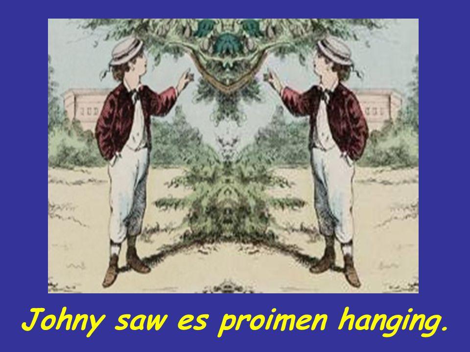 Johny saw es proimen hanging.