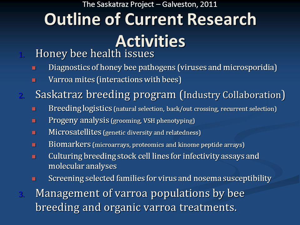 The Saskatraz Project – Galveston, 2011 Outline of Current Research Activities 1. Honey bee health issues Diagnostics of honey bee pathogens (viruses