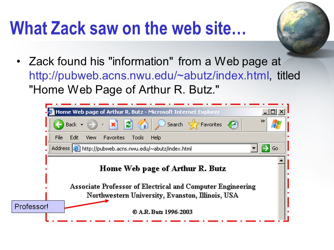 What Zack saw on the web site… Zack found his information from a Web page at http://pubweb.acns.nwu.edu/~abutz/index.html, titled Home Web Page of Arthur R.