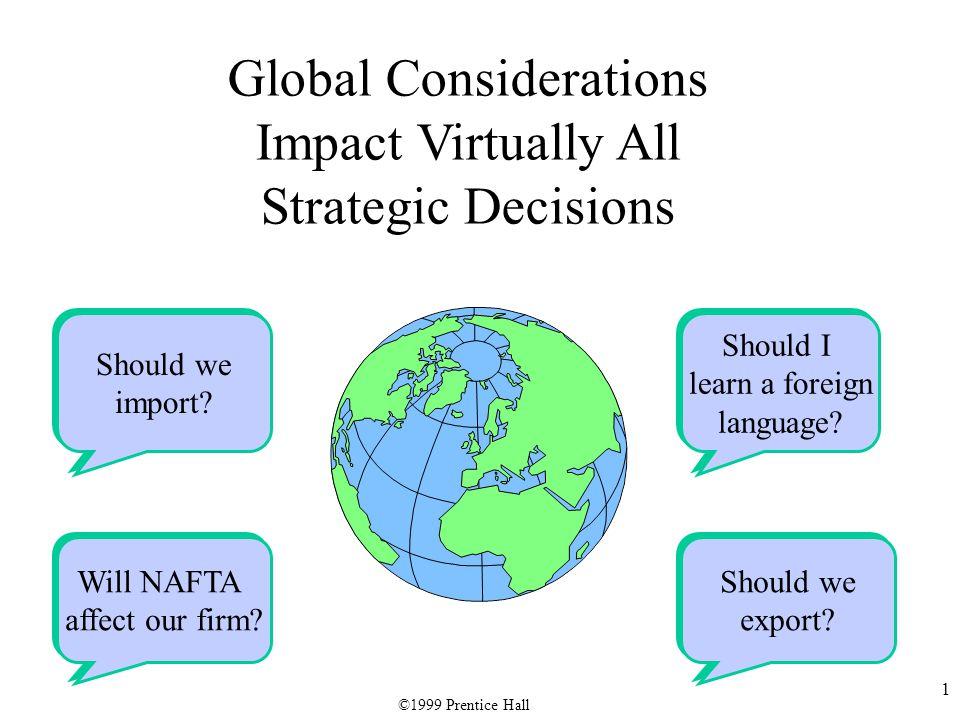 1 Should we import? Should we import? Will NAFTA affect our firm? Will NAFTA affect our firm? Should we export? Should we export? Should I learn a for