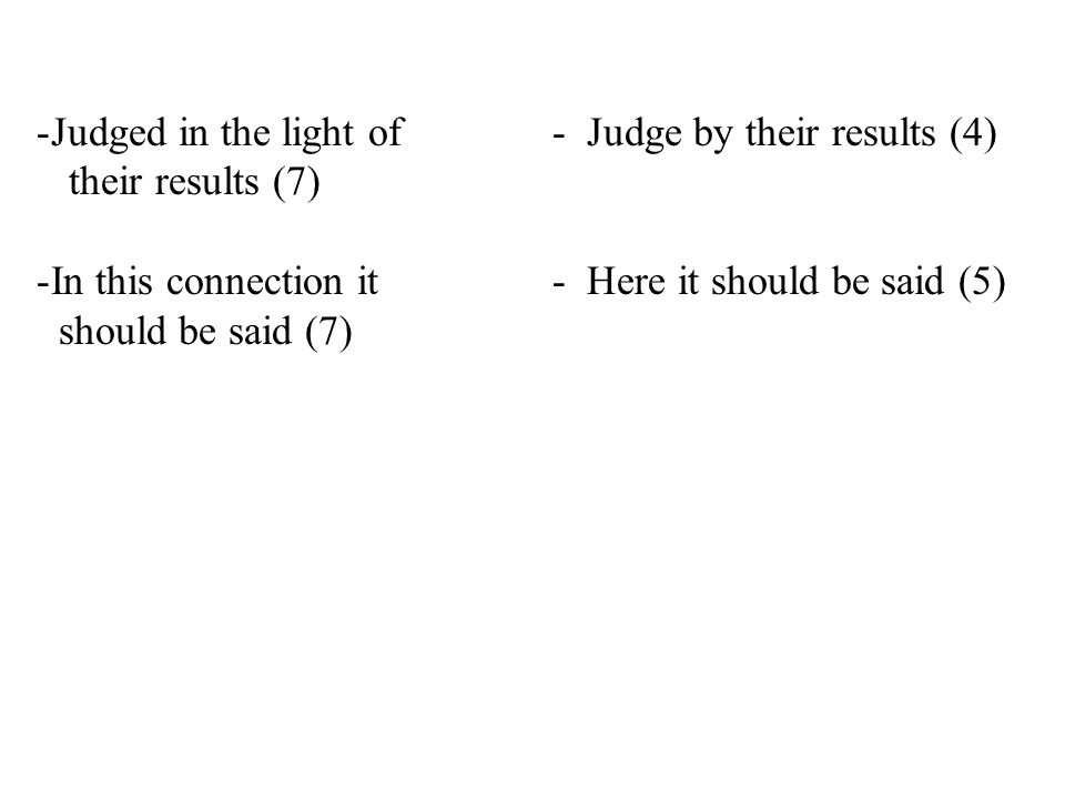 -Judged in the light of - Judge by their results (4) their results (7) -In this connection it- Here it should be said (5) should be said (7)