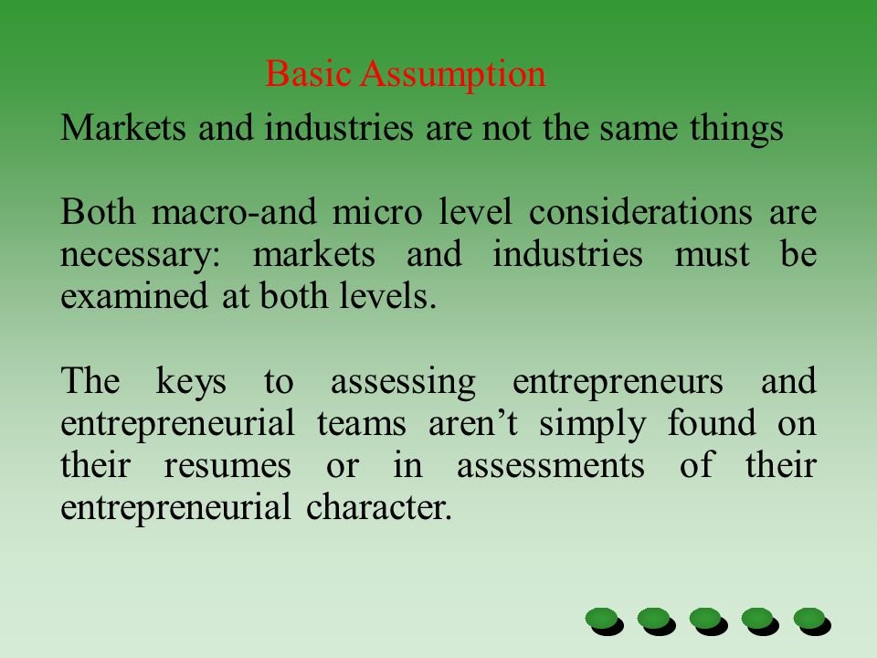 Markets and industries are not the same things Both macro-and micro level considerations are necessary: markets and industries must be examined at both levels.