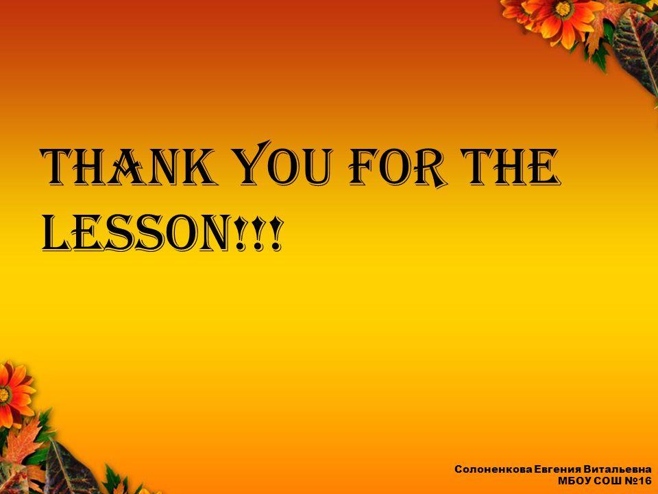 Thank you for the lesson!!! Солоненкова Евгения Витальевна МБОУ СОШ №16