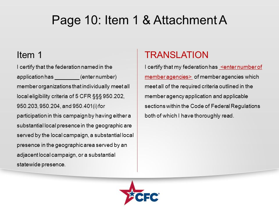 Page 10: Item 1 & Attachment A Item 1 I certify that the federation named in the application has ________ (enter number) member organizations that ind