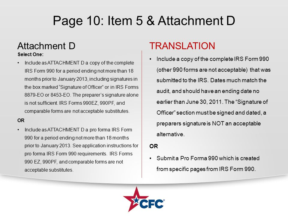 Page 10: Item 5 & Attachment D TRANSLATION Include a copy of the complete IRS Form 990 (other 990 forms are not acceptable) that was submitted to the IRS.