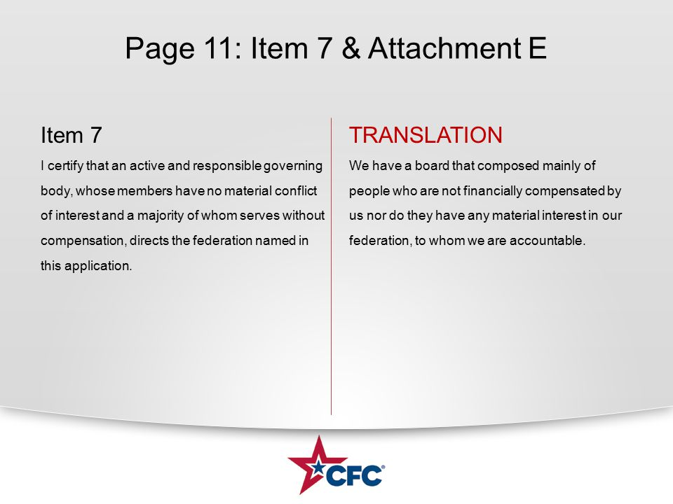 Page 11: Item 7 & Attachment E Item 7 I certify that an active and responsible governing body, whose members have no material conflict of interest and
