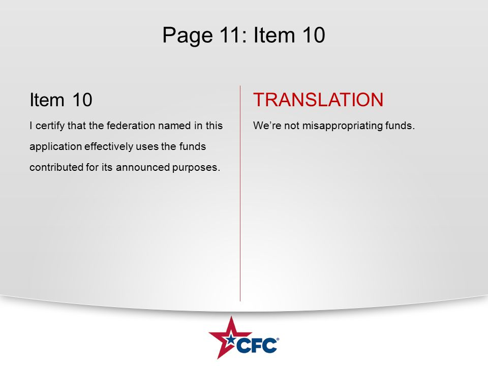 Page 11: Item 10 Item 10 I certify that the federation named in this application effectively uses the funds contributed for its announced purposes.