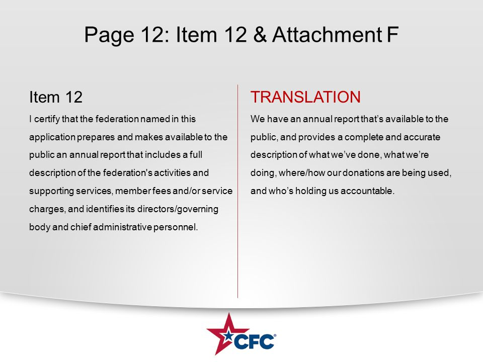 Page 12: Item 12 & Attachment F Item 12 I certify that the federation named in this application prepares and makes available to the public an annual r
