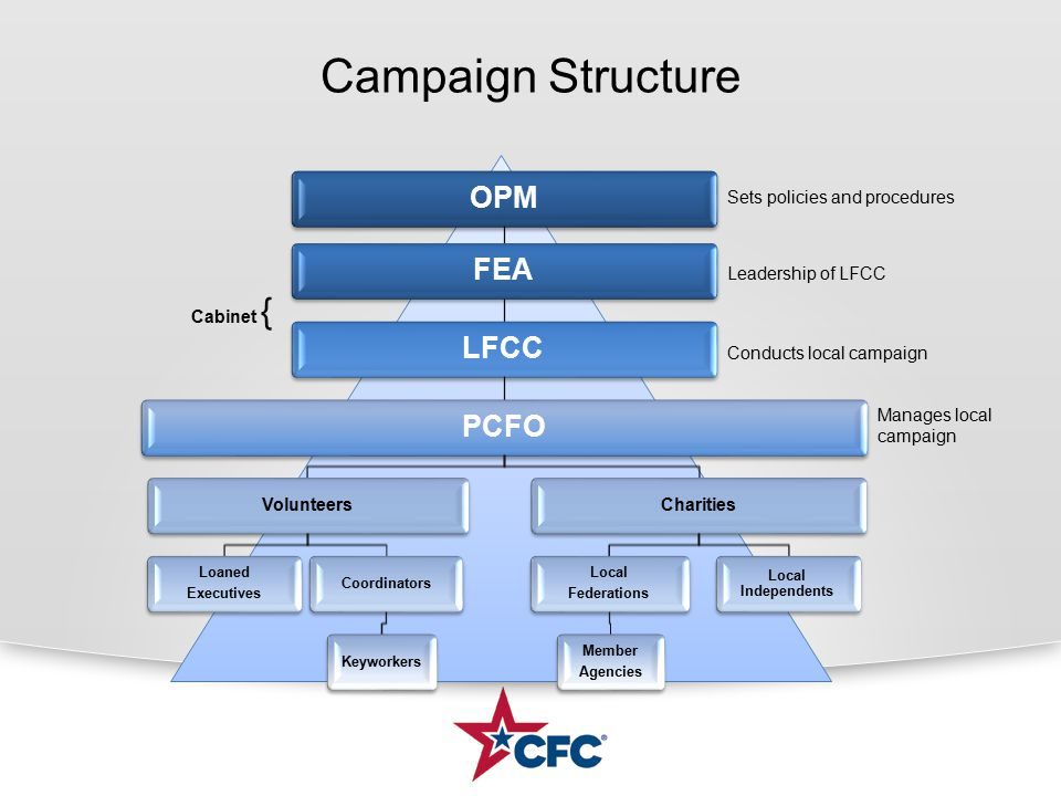Campaign Structure OPMFEALFCCPCFO Volunteers Loaned Executives CoordinatorsKeyworkers Charities Local Federations Member Agencies Local Independents Sets policies and procedures Leadership of LFCC Conducts local campaign Cabinet { Manages local campaign