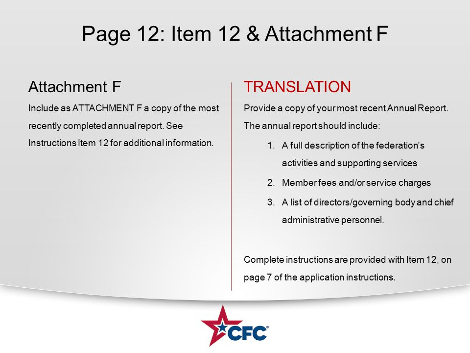 Page 12: Item 12 & Attachment F Attachment F Include as ATTACHMENT F a copy of the most recently completed annual report.