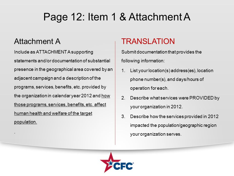 Page 12: Item 1 & Attachment A Attachment A Include as ATTACHMENT A supporting statements and/or documentation of substantial presence in the geographical area covered by an adjacent campaign and a description of the programs, services, benefits, etc.
