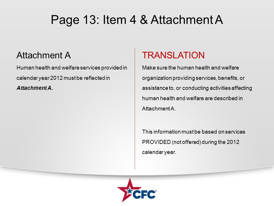 Page 13: Item 4 & Attachment A Attachment A Human health and welfare services provided in calendar year 2012 must be reflected in Attachment A.