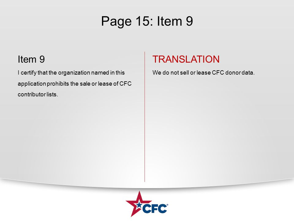 Page 15: Item 9 Item 9 I certify that the organization named in this application prohibits the sale or lease of CFC contributor lists. TRANSLATION We