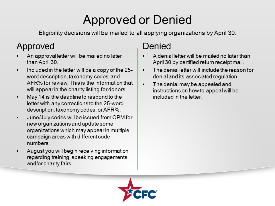 Approved or Denied Approved An approval letter will be mailed no later than April 30. Included in the letter will be a copy of the 25- word descriptio