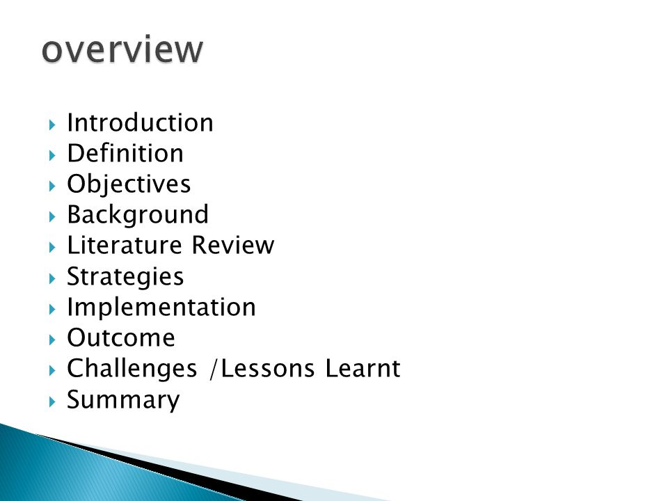  Introduction  Definition  Objectives  Background  Literature Review  Strategies  Implementation  Outcome  Challenges /Lessons Learnt  Summary