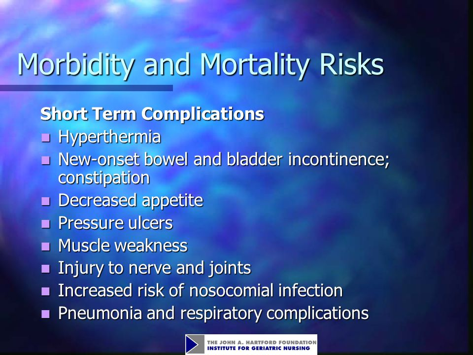 Morbidity and Mortality Risks Short Term Complications Hyperthermia Hyperthermia New-onset bowel and bladder incontinence; constipation New-onset bowel and bladder incontinence; constipation Decreased appetite Decreased appetite Pressure ulcers Pressure ulcers Muscle weakness Muscle weakness Injury to nerve and joints Injury to nerve and joints Increased risk of nosocomial infection Increased risk of nosocomial infection Pneumonia and respiratory complications Pneumonia and respiratory complications