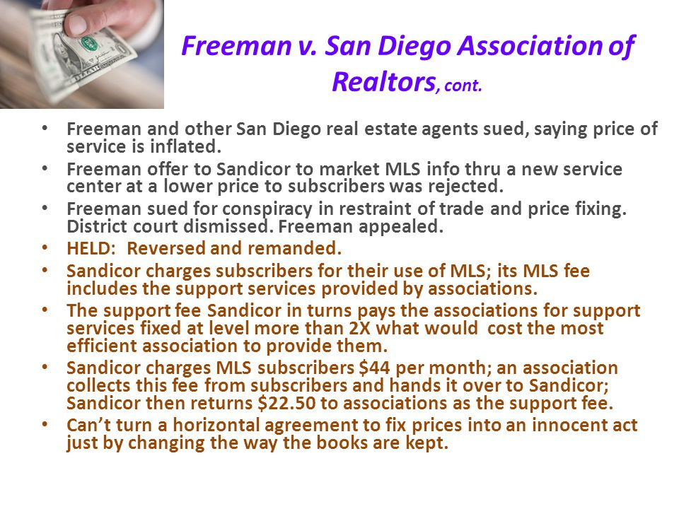 Freeman v. San Diego Association of Realtors Multiple Listing Service (MLS) often used by real estate agents to share info re: properties via computer