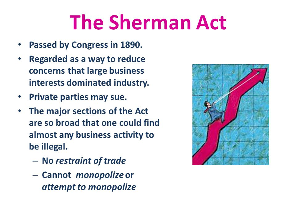 The Sherman Act Passed by Congress in 1890.