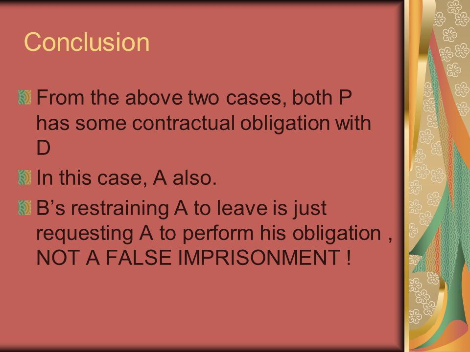 Conclusion From the above two cases, both P has some contractual obligation with D In this case, A also.