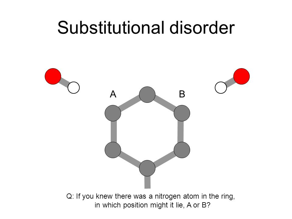 Dynamic Disorder Example, tertiary butyl groups –Often spin freely in a structure.