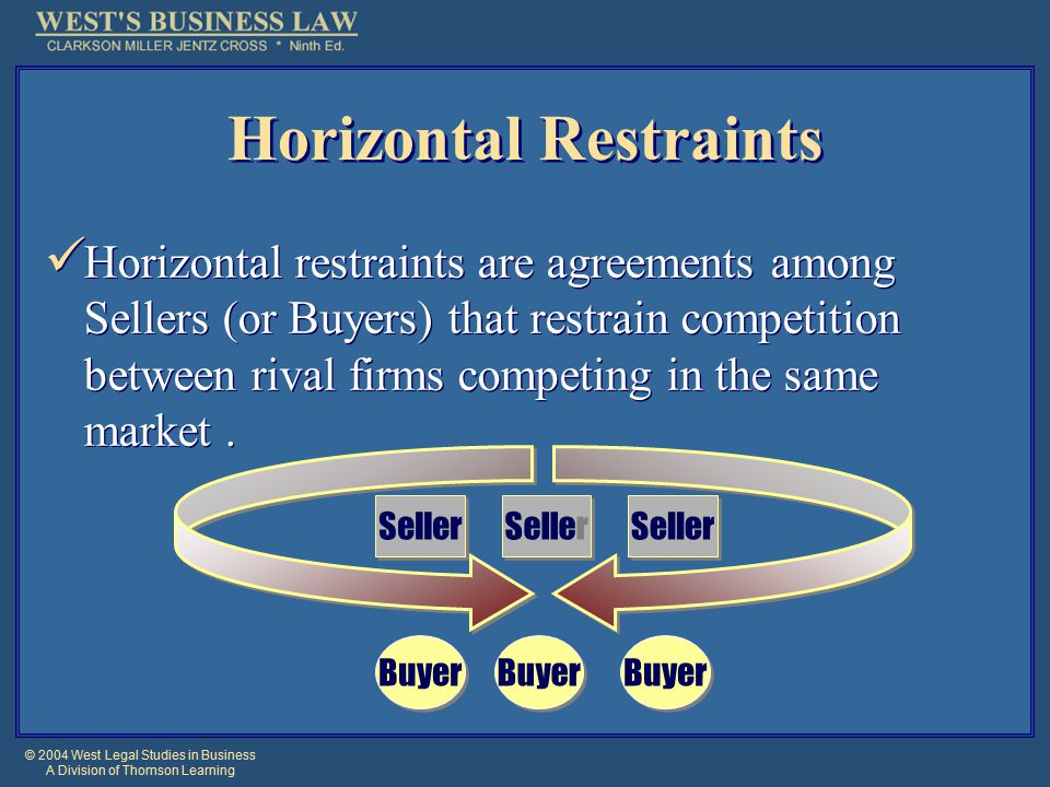 © 2004 West Legal Studies in Business A Division of Thomson Learning Horizontal Restraints Horizontal restraints are agreements among Sellers (or Buyers) that restrain competition between rival firms competing in the same market.